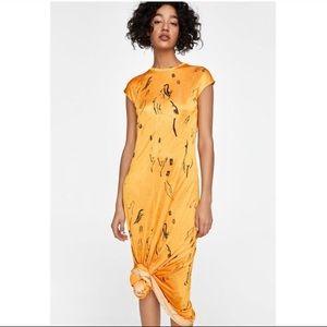 ZARA Long Print Maxi Dress
